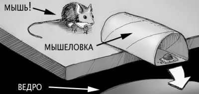 Ловим мышь в ведро