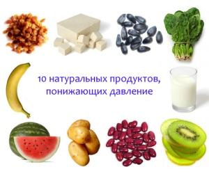 Натуральные продукты понижающие давление
