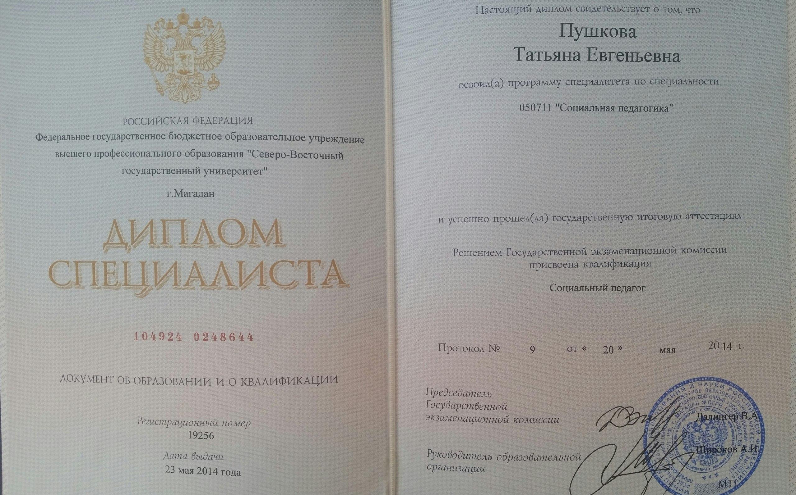 Диплом Татьяны Пушковой